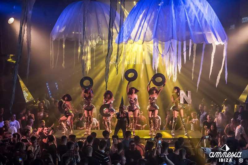 Cocoon event dancers in Amnesia Ibiza