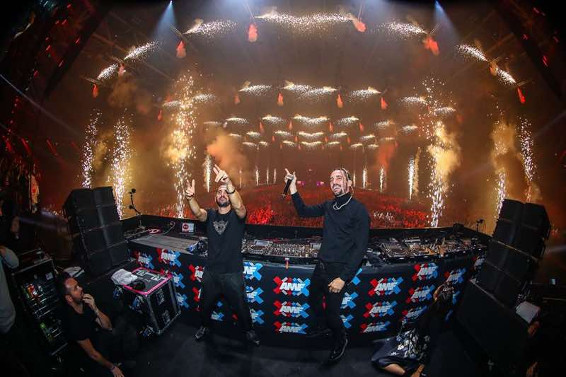 Dimitri Vegas and Like Mike performing at amf amsterdam music festival