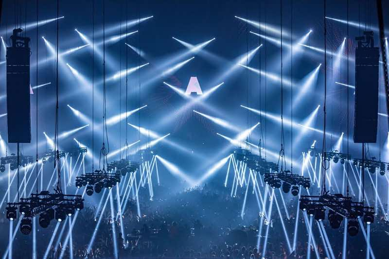 Lights show at amf amsterdam music festival