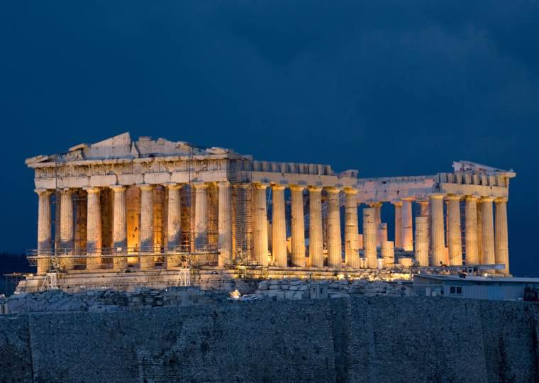 Pathenon night lights in Athens Travel Guide