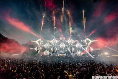 Fireworks at main stage at Awakenings Festival
