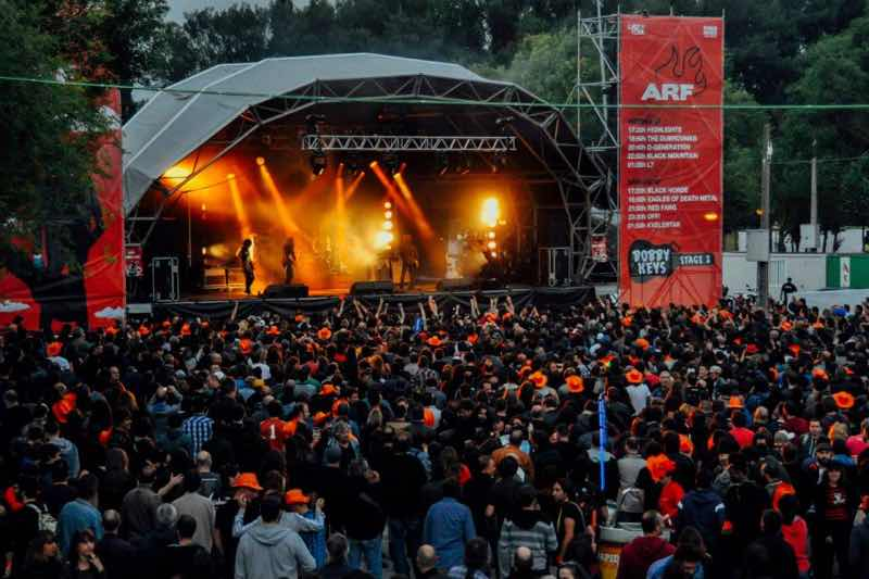 Stage lights show dancing at Azkena Rock Festival