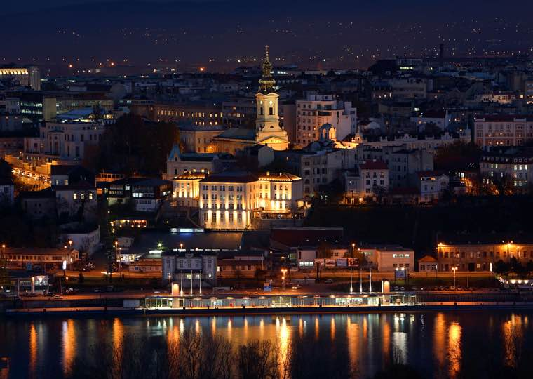 River city lights view in Belgrade