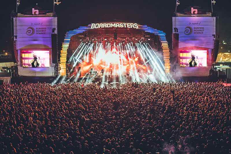 Main stage lights at Boardmasters Festivals