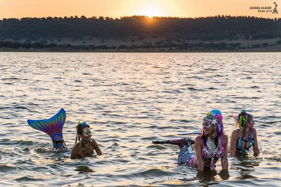 Mermaids in the lake at boom festival