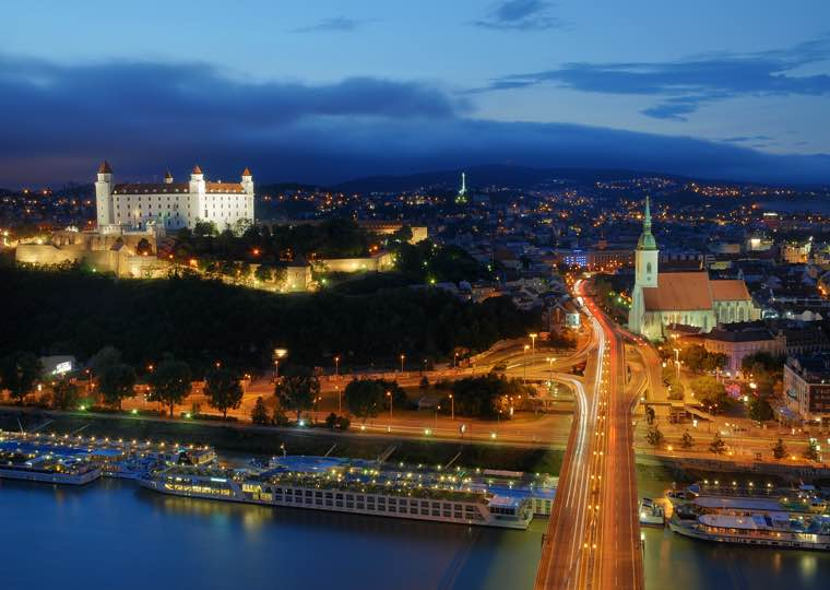 Castle city lights in Bratislava