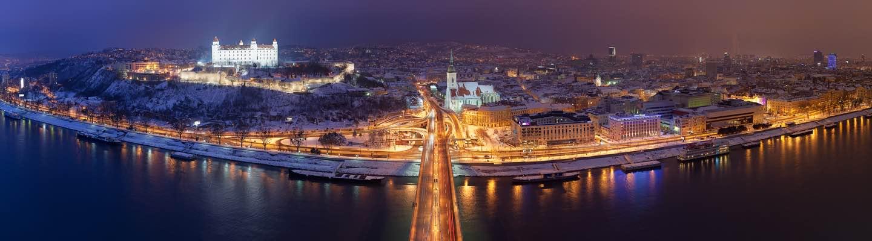 Bratislava Castle Cathedral danube river night lights