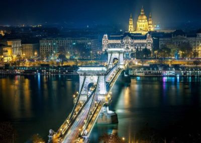 Chain Bridge Cathedral by night in Budapest