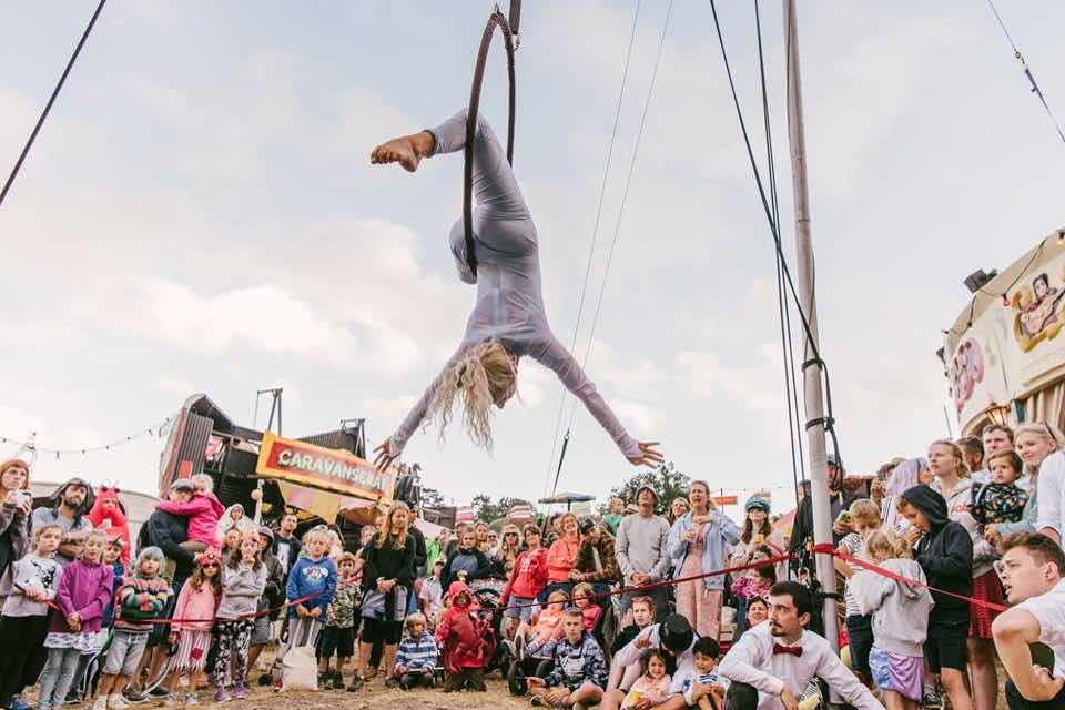 Acrobatic show at Camp Bestival