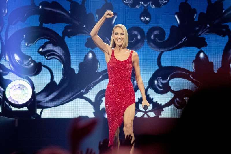 Singing in red Celine Dion Concert Courage World Tour
