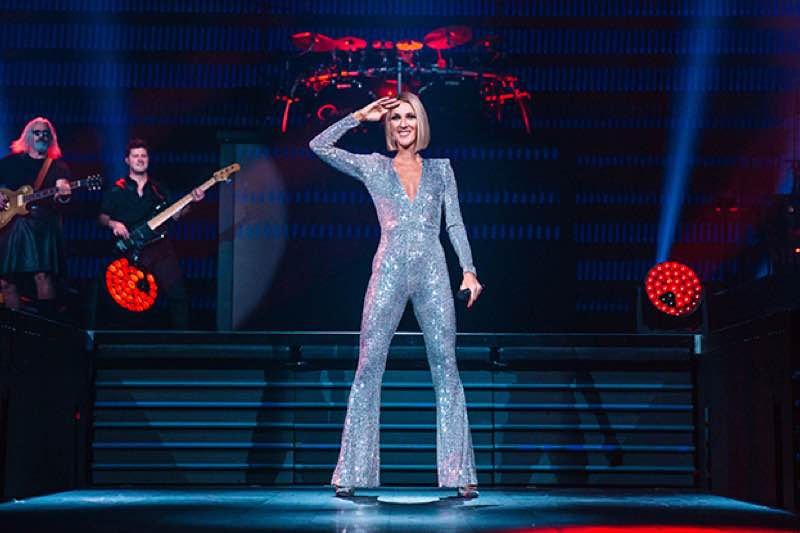 Singing in silver Celine Dion Concert Courage World Tour