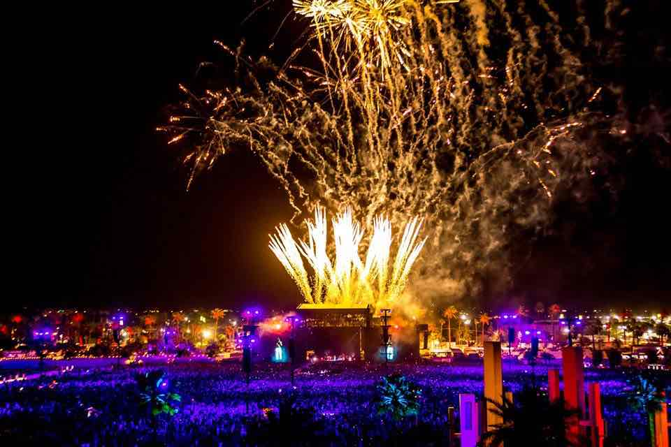 Fireworks at Coachella Festival
