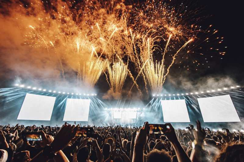 Party fireworks at Creamfields Festival