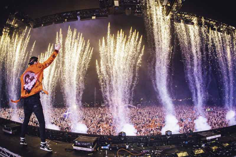 Performing with fireworks at Creamfields Festival