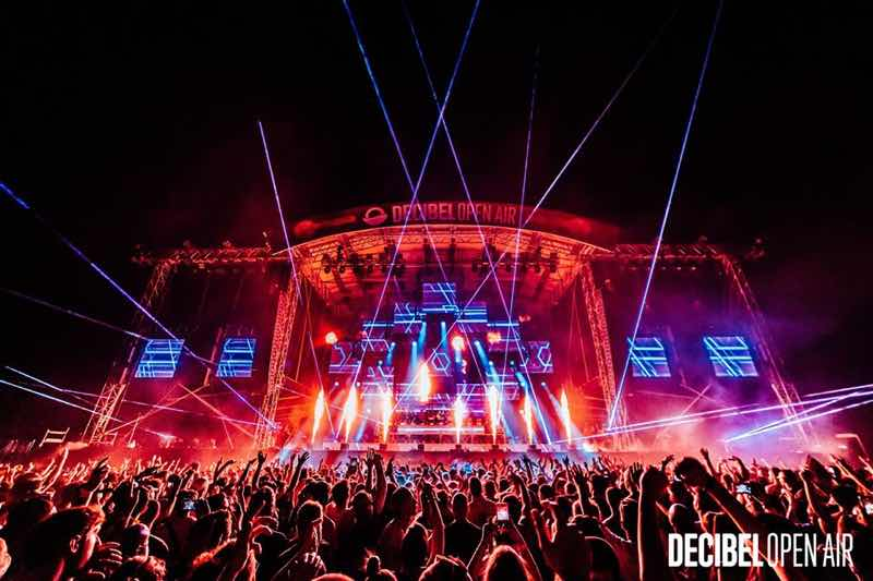 Laser show dancing at Decibel Open Air Festival
