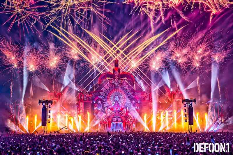 Fire works at Defqon 1 Weekend Festival