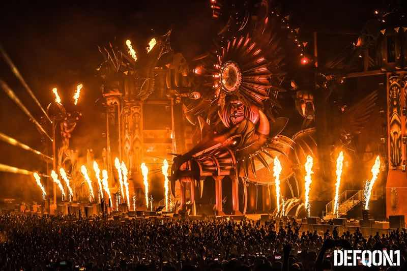 Stage fire show at Defqon 1 Weekend Festival