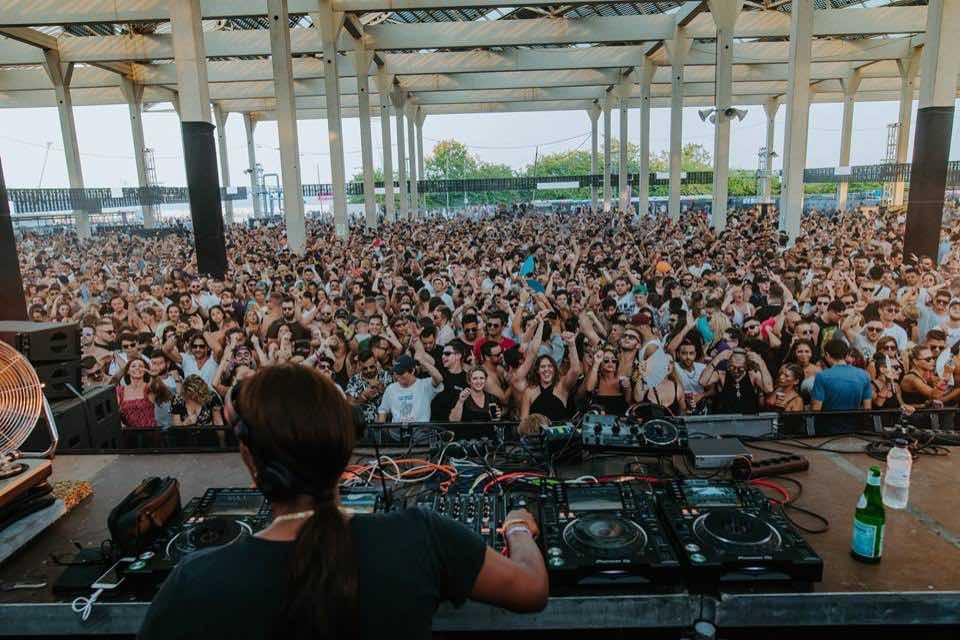 Dj mixing crowd view at DGTL Barcelona Festival