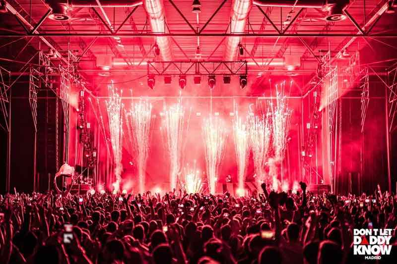 Stage fireworks at DLDK Don't Let Daddy know Festival