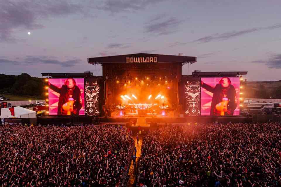 Stage lights at Download Festival