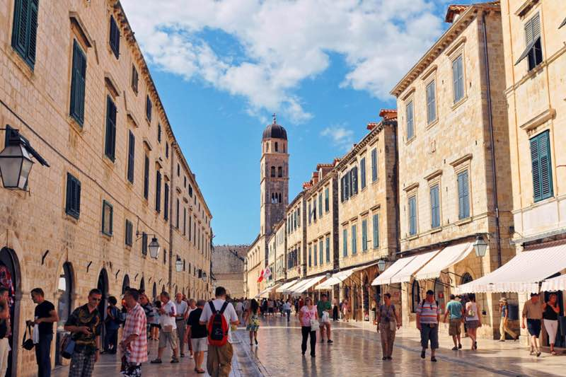 Shopping street in the old city of Dubrovnik