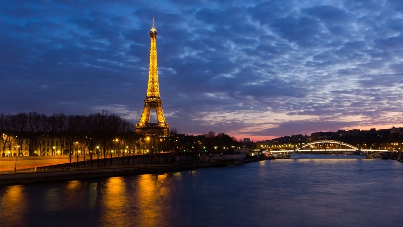 eiffel tower river seine bridge evening romantic lights paris