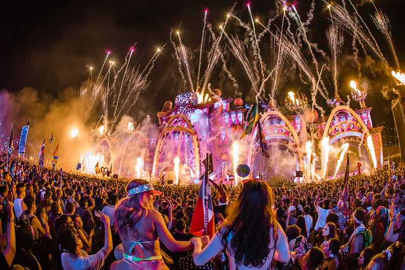 Fireworks on stage at Electric Daisy Carnival EDC Portugal