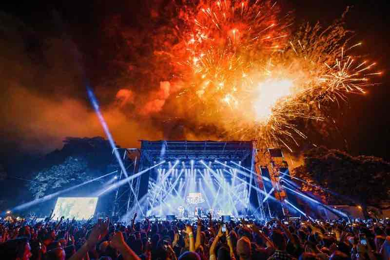 Stage lights show and fireworks at Exit Festival