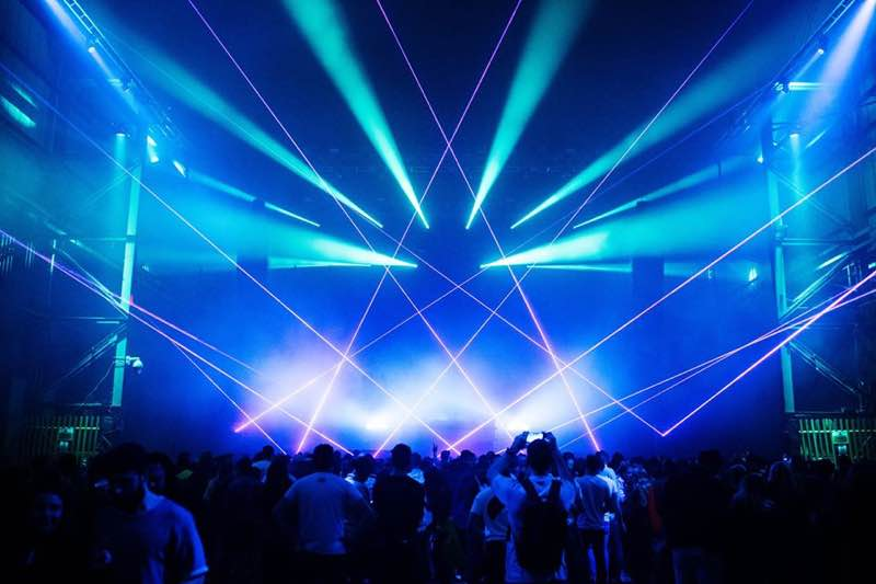 Dancing laser show at Field Day London Festival