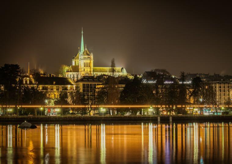 Lake Geneva Cathedral Night Lights