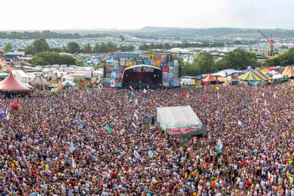 Main stage crowd at Glastonbury Festival
