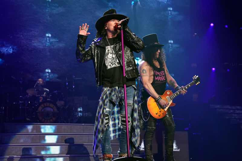 Axl Rose and Slash performing at Guns N'Roses Tour