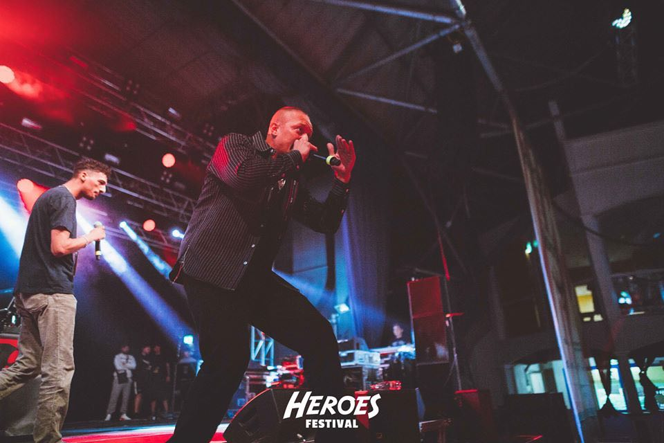 Rapping on stage at Heroes Festival