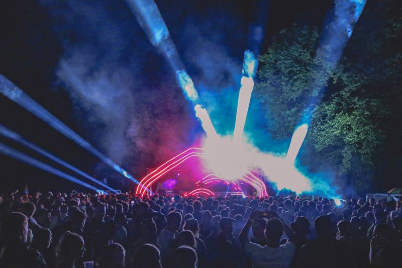 Stage lights show at hide and seek Festival