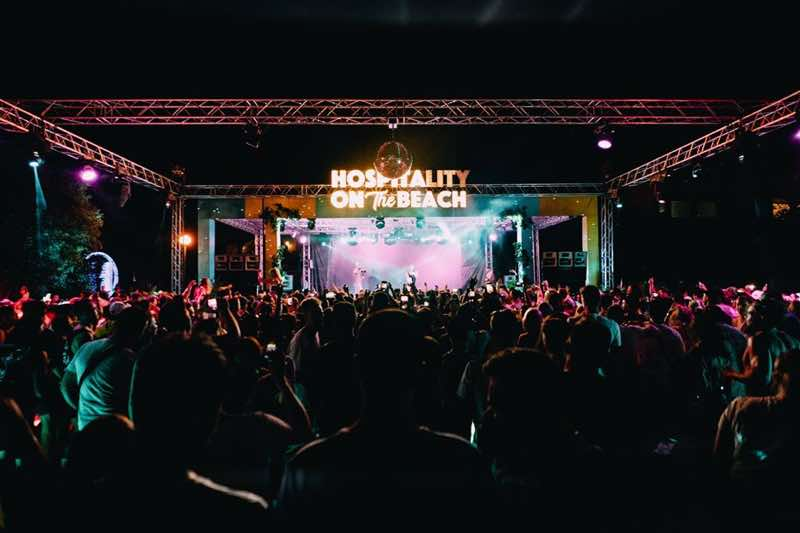 Main stage dancing at Hospitality on the Beach Festival