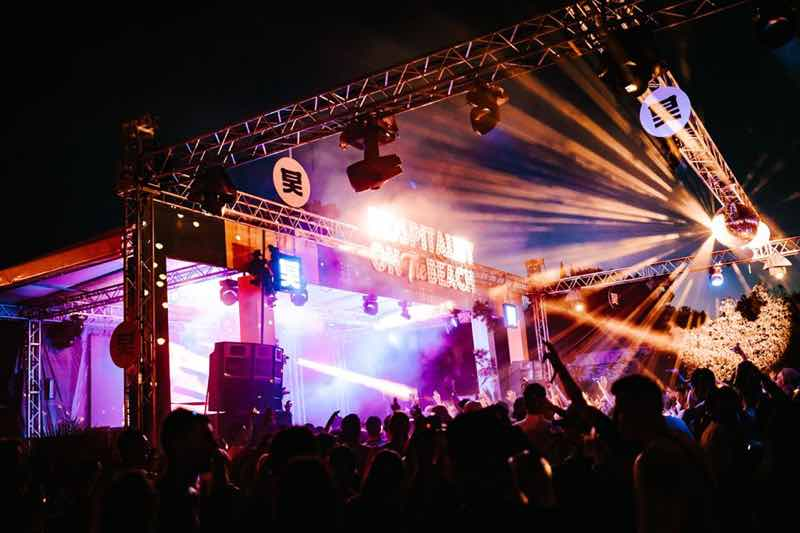 Stage lights show at Hospitality on the Beach Festival