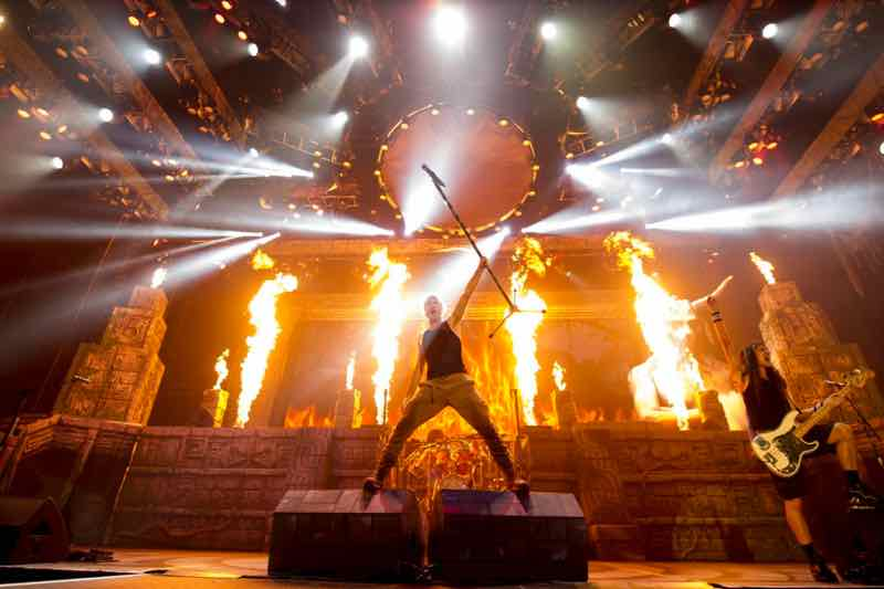 Fire show on stage at Legacy of the Beast Tour Iron Maiden Lisbon 2020