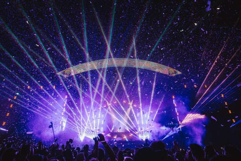 Stage lights show at Isle of Wight Festival