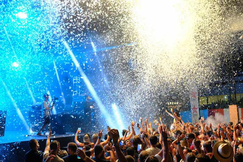 Confetti on stage at Les Plages Electroniques Festival