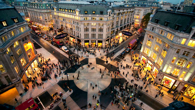 Shopping district in London