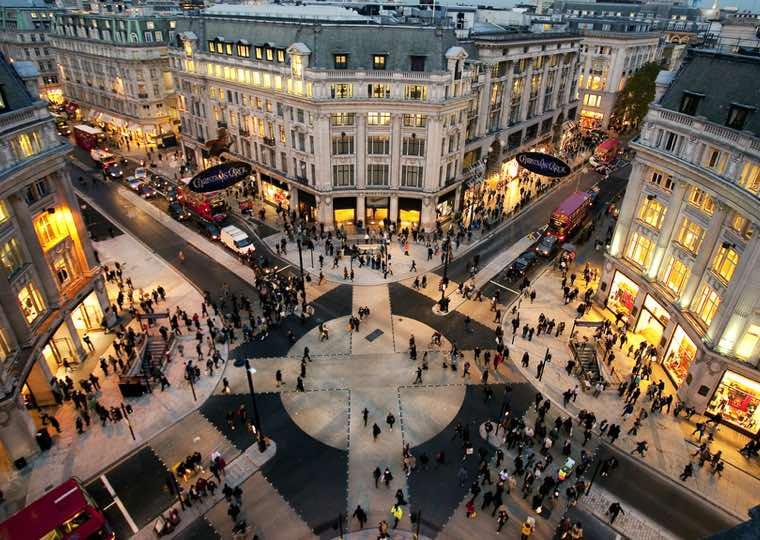 Shops in Bond Street in London