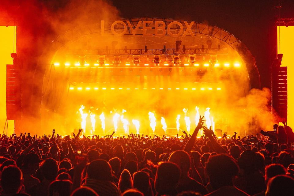 Main stage fire show at lovebox festival
