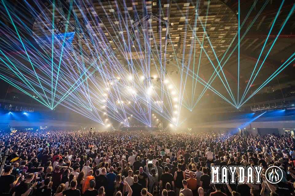 Laser show stage at mayday dortmund festival