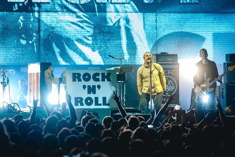 Liam Gallagher performing on stage at Metronome Festival Prague