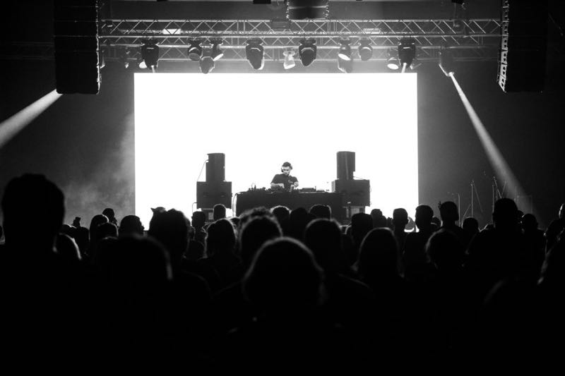 Mixing on stage at Metronome Festival Prague