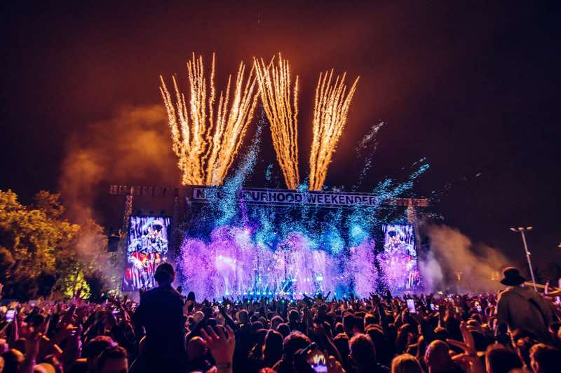 Main Stage Fireworks and lights show at Neighbourhood Weekender Festival