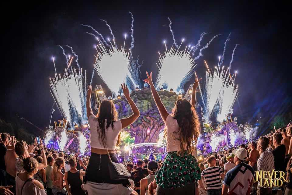 Dancing with fireworks at Neverland Festival