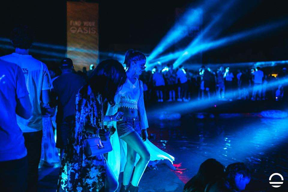 Pool blue lights at Oasis Festival