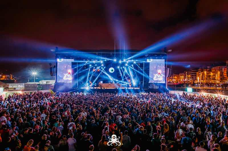 Stage lights show at Ostend Beach Festival