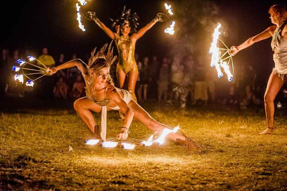 Amanitas Theatre Fire show at Ozora Festival